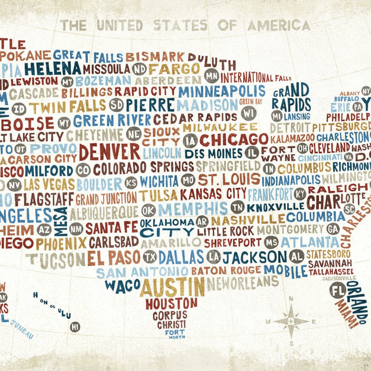 Fototapet US City Map, personalizat, Photowall