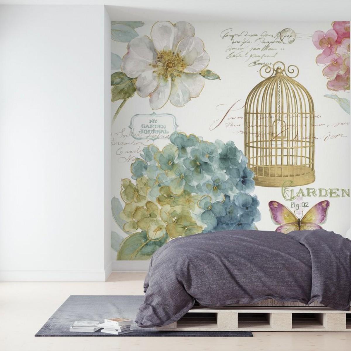 Fototapet Hydrangea Birdcage, personalizat, Photowall