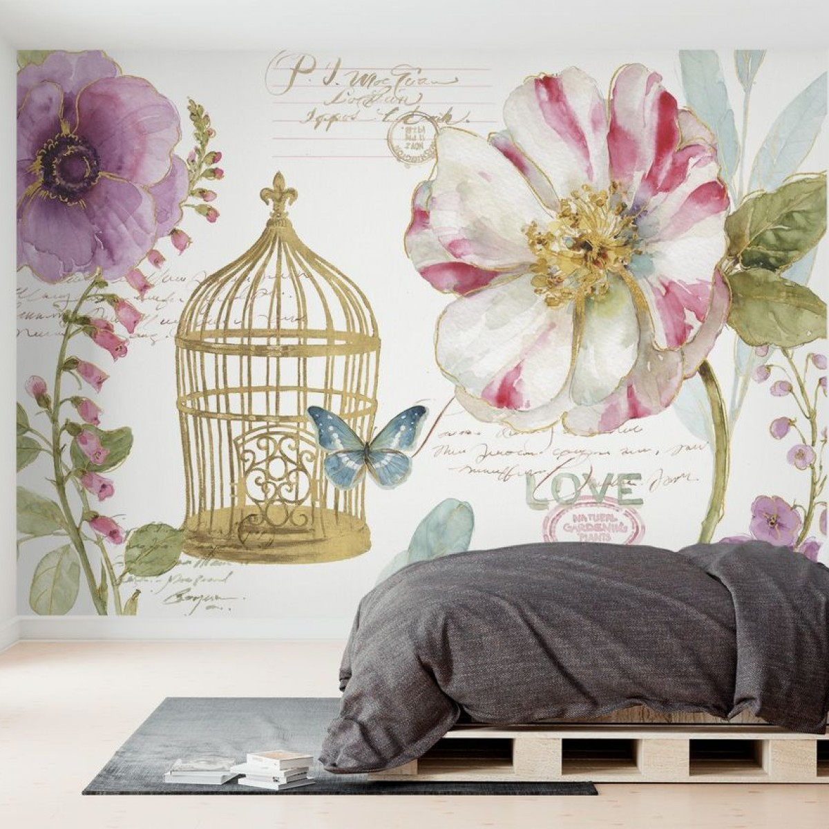 Fototapet Rainbow Seeds Birdcage, personalizat, Photowall