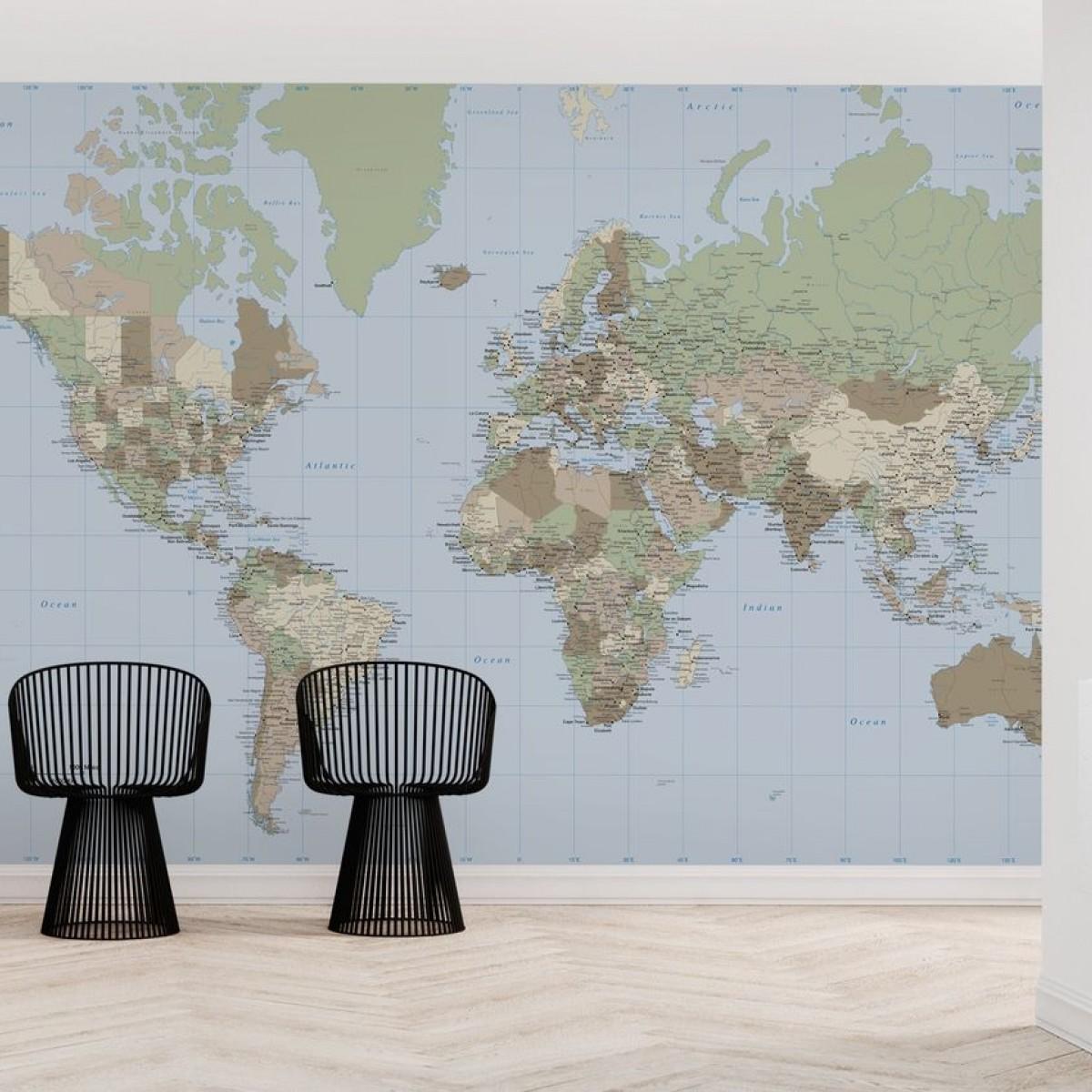 World Map Vintage, personalizat, Photowall