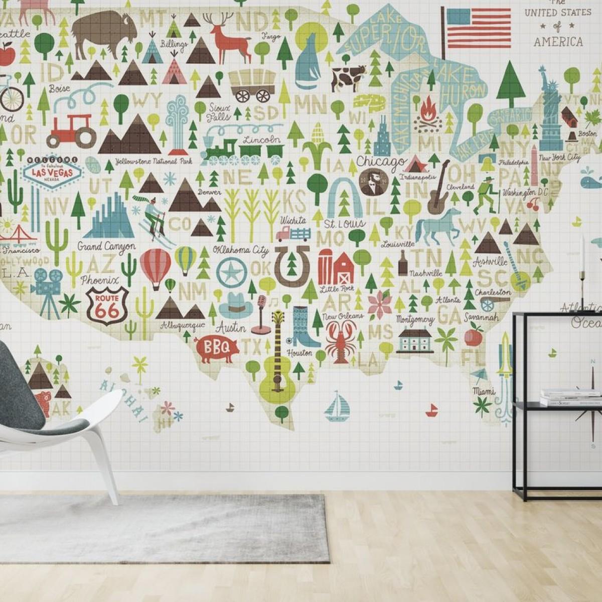 Fototapet Illustrated USA, personalizat, Photowall