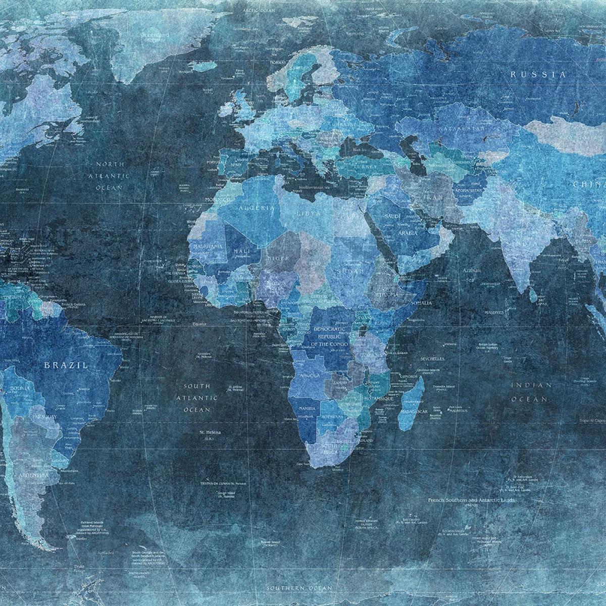 Fototapet Harta lumii - Albastru, personalizat, Rebel Walls