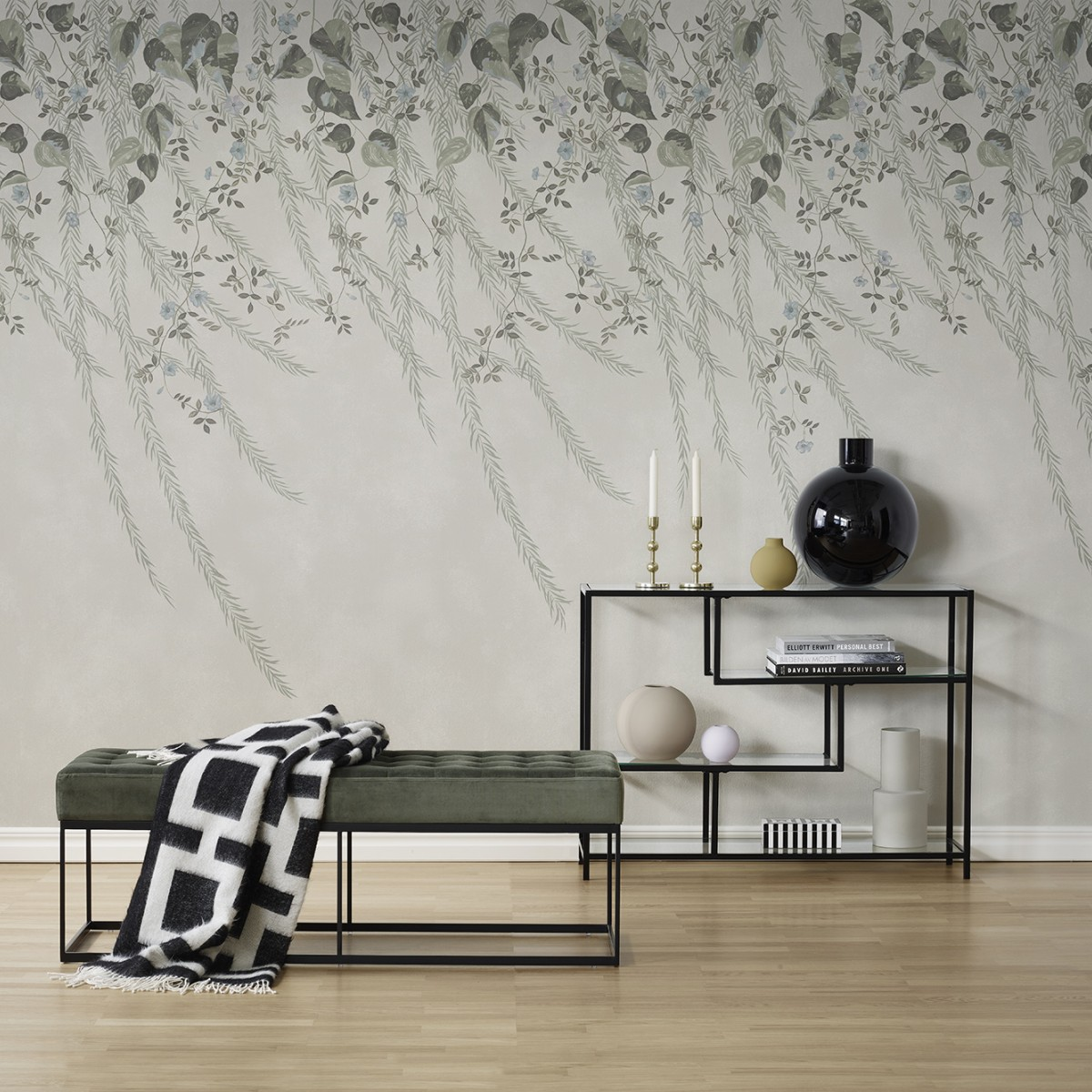 Fototapet Lush Foliage Sage Tint, personalizat, Rebel Walls