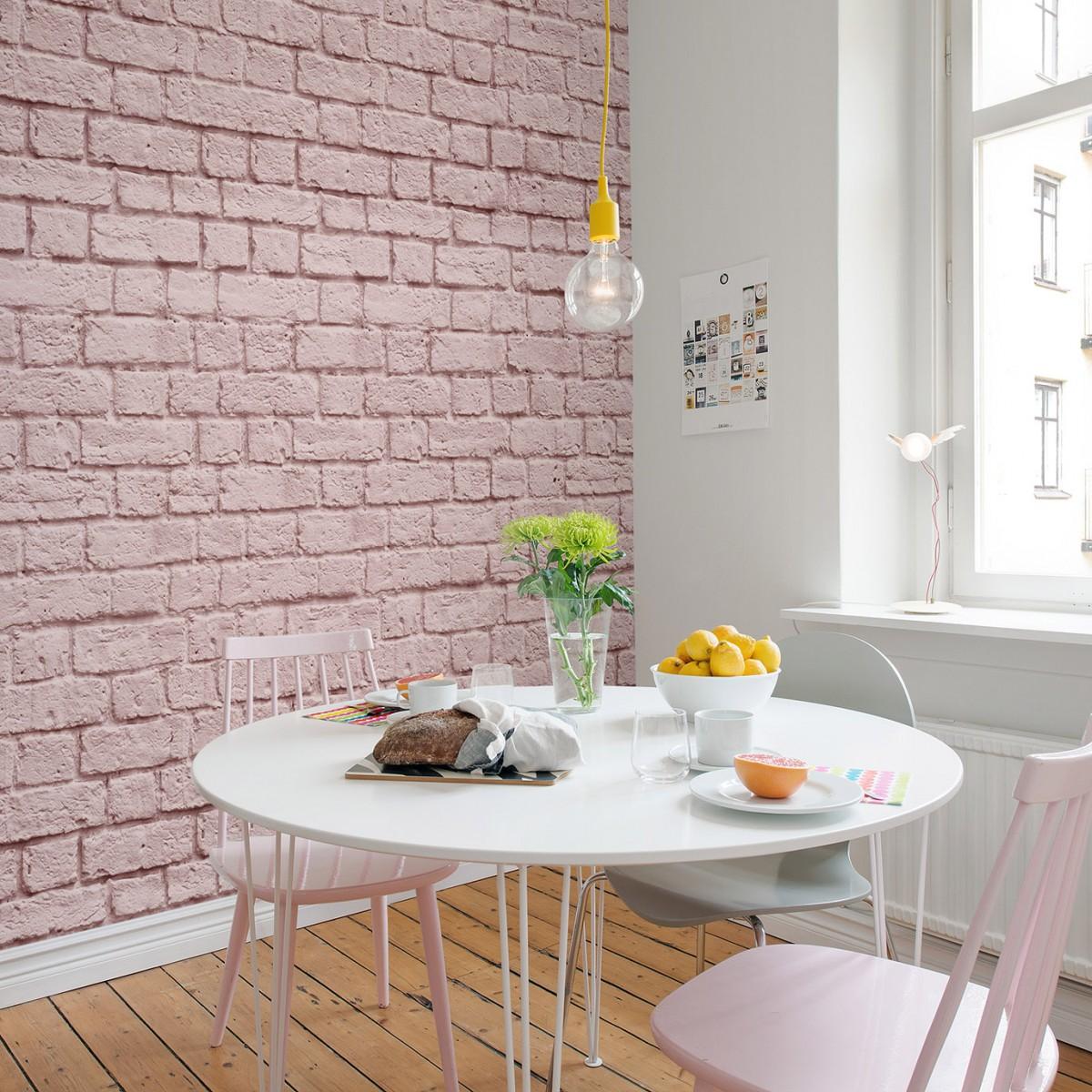 Fototapet Soft Bricks, Pink, personalizat, Rebel Walls