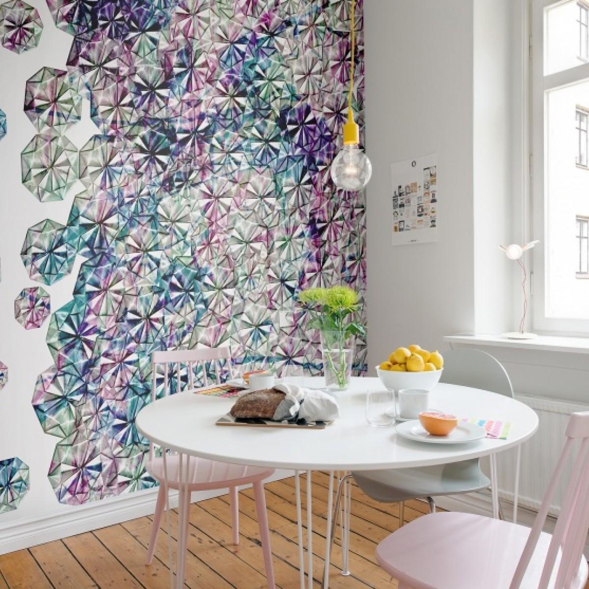 Fototapet Florigami, color, personalizat, Rebel Walls