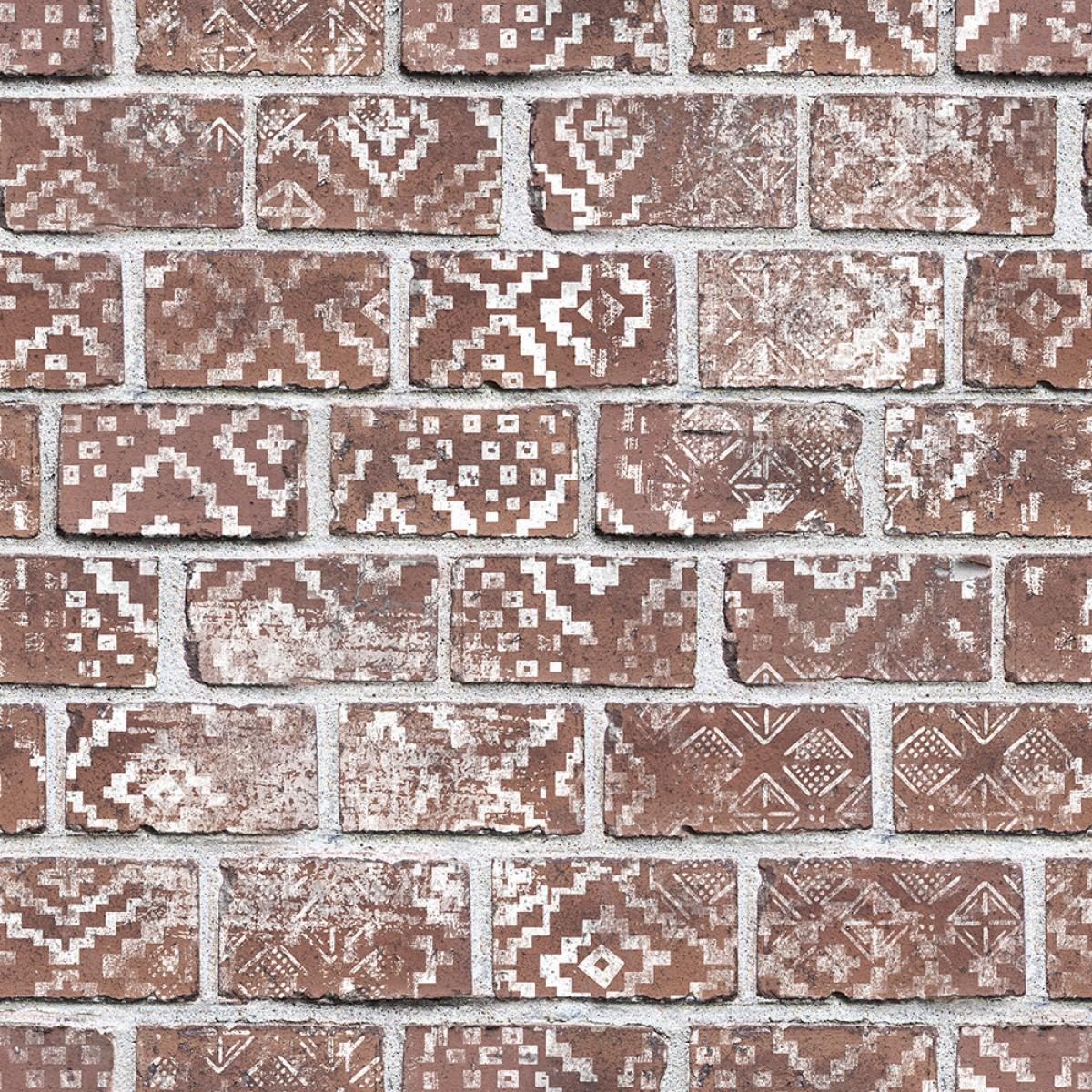 Fototape Decorated Bricks, Red, personalizat, Rebel Walls