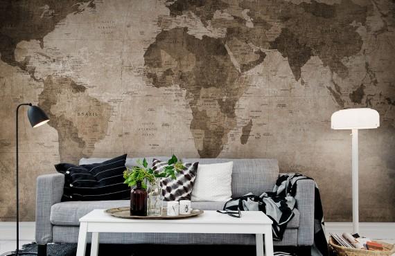 Fototapet Harta lumii - Maro, personalizat, Rebel Walls