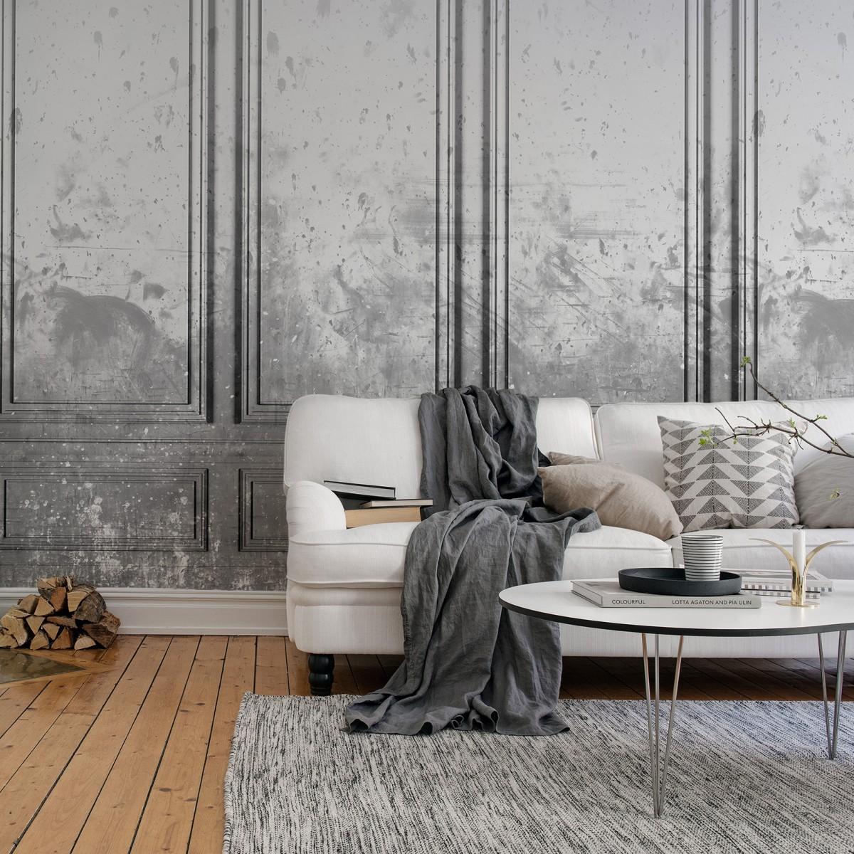 Foto tapet 3D Patinated Panels, Smoke, personalizat, Rebel Walls