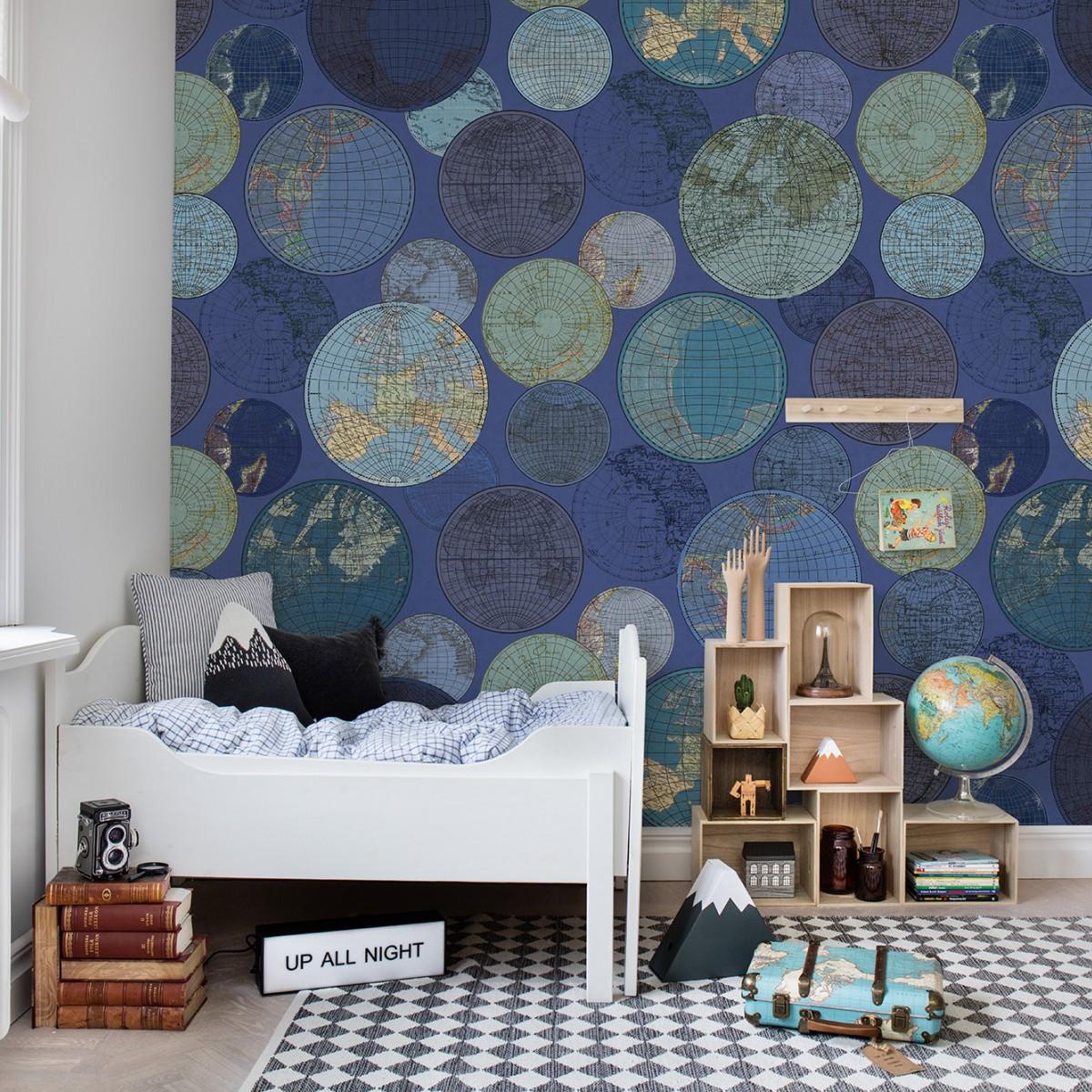 Fototapet Globuri, albastru, personalizat, Rebel Walls
