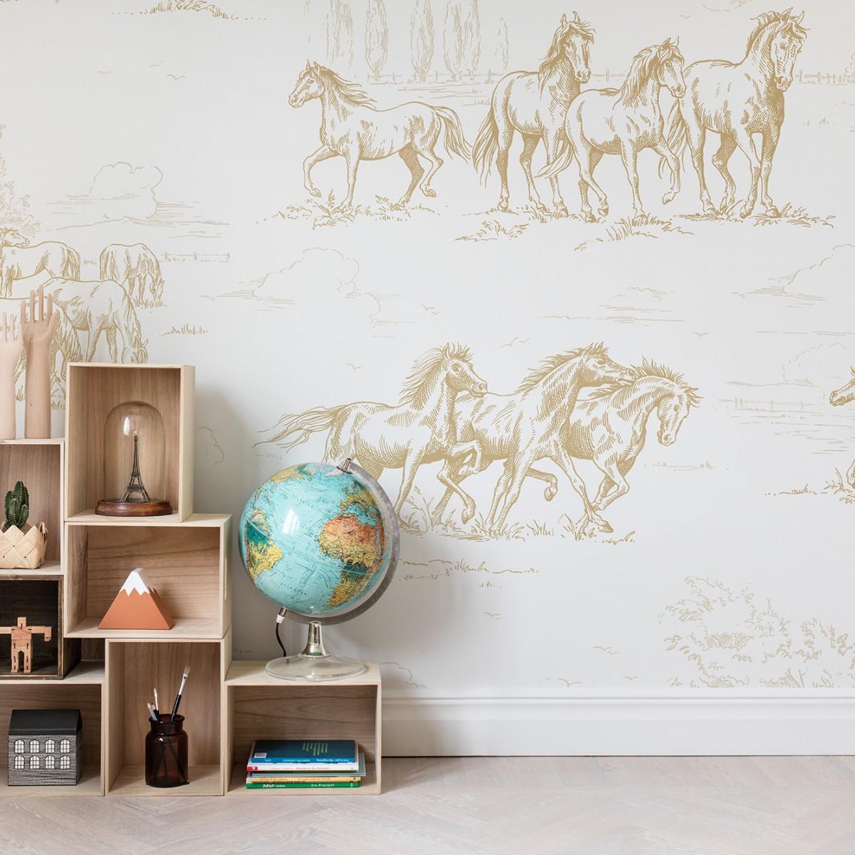 Fototapet Herghelie de cai, Gold, personalizat, Rebel Walls
