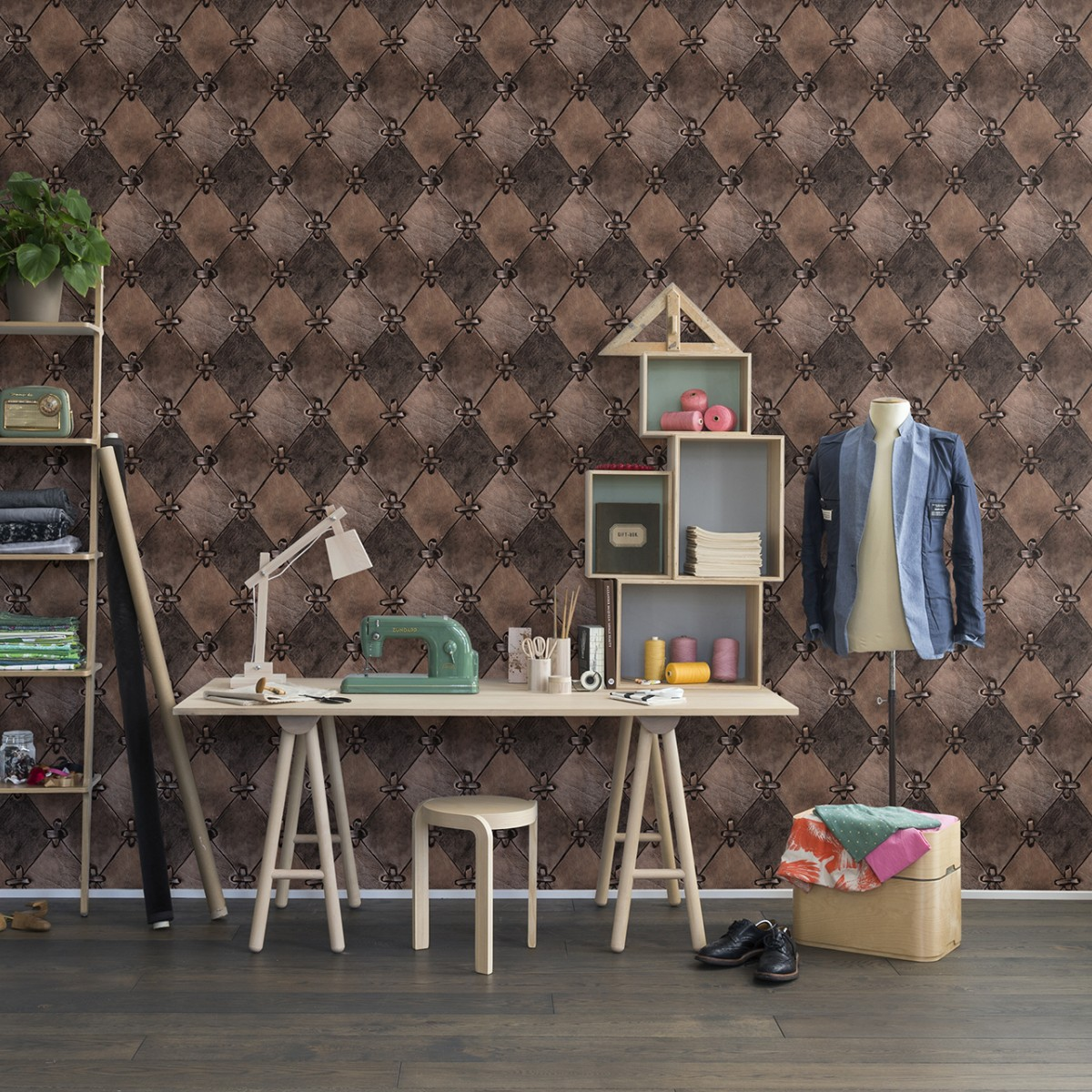 Fototapet Leather Rhombs, vintage, personalizat, repetitiv, Rebel Walls