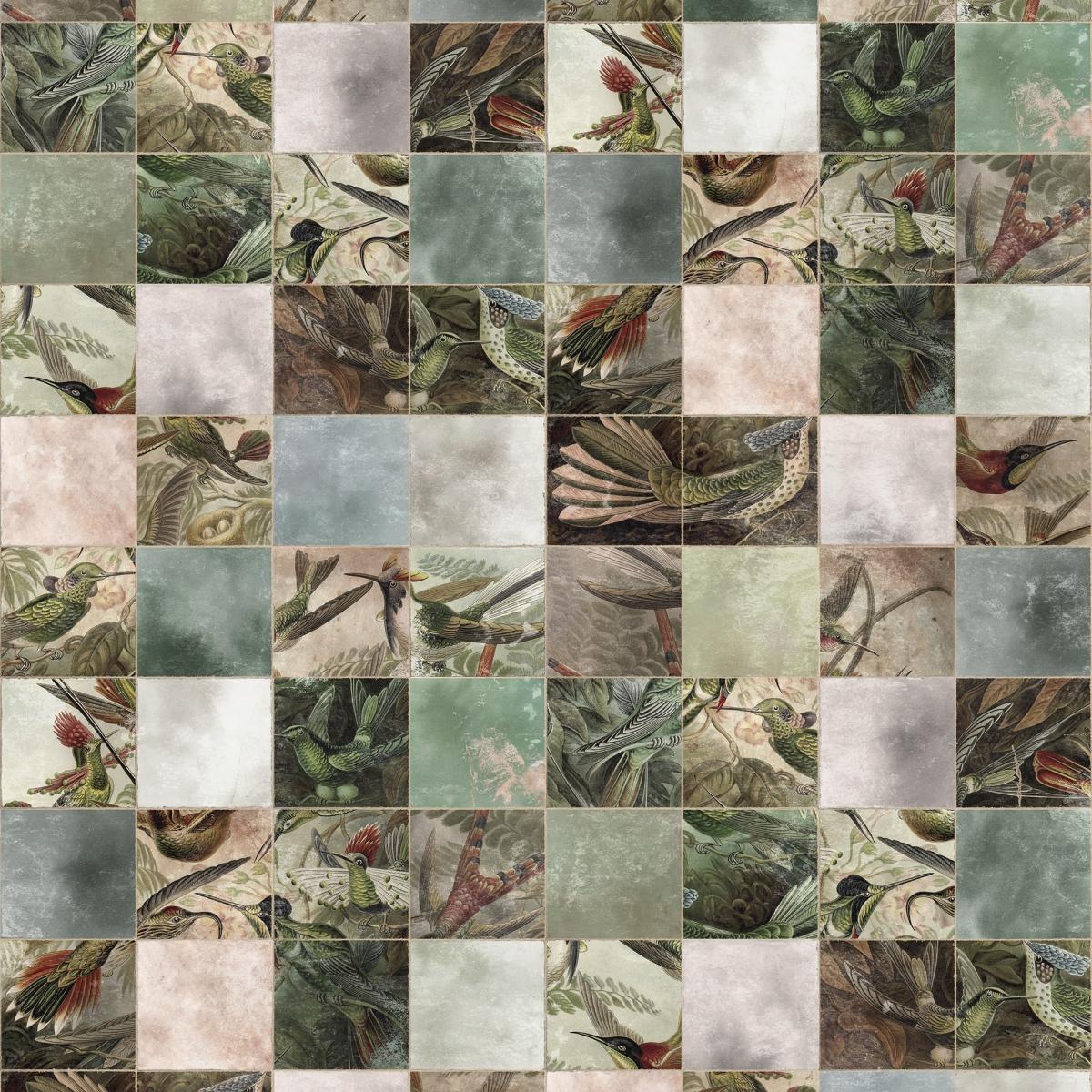 Fototapet Birds of Paradise Tiles, personalizat, Rebel Walls
