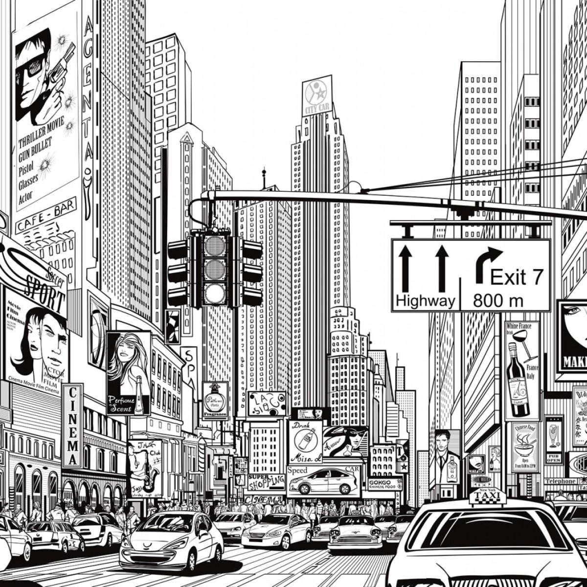 Fototapet Cartoon City - Alb, personalizat, Rebel Walls
