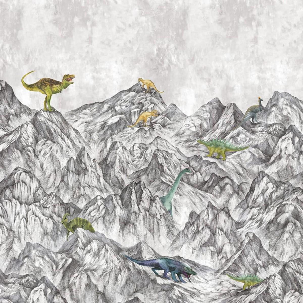Foto tapet 3D Dinosaur Mountain, personalizat, Rebel Walls