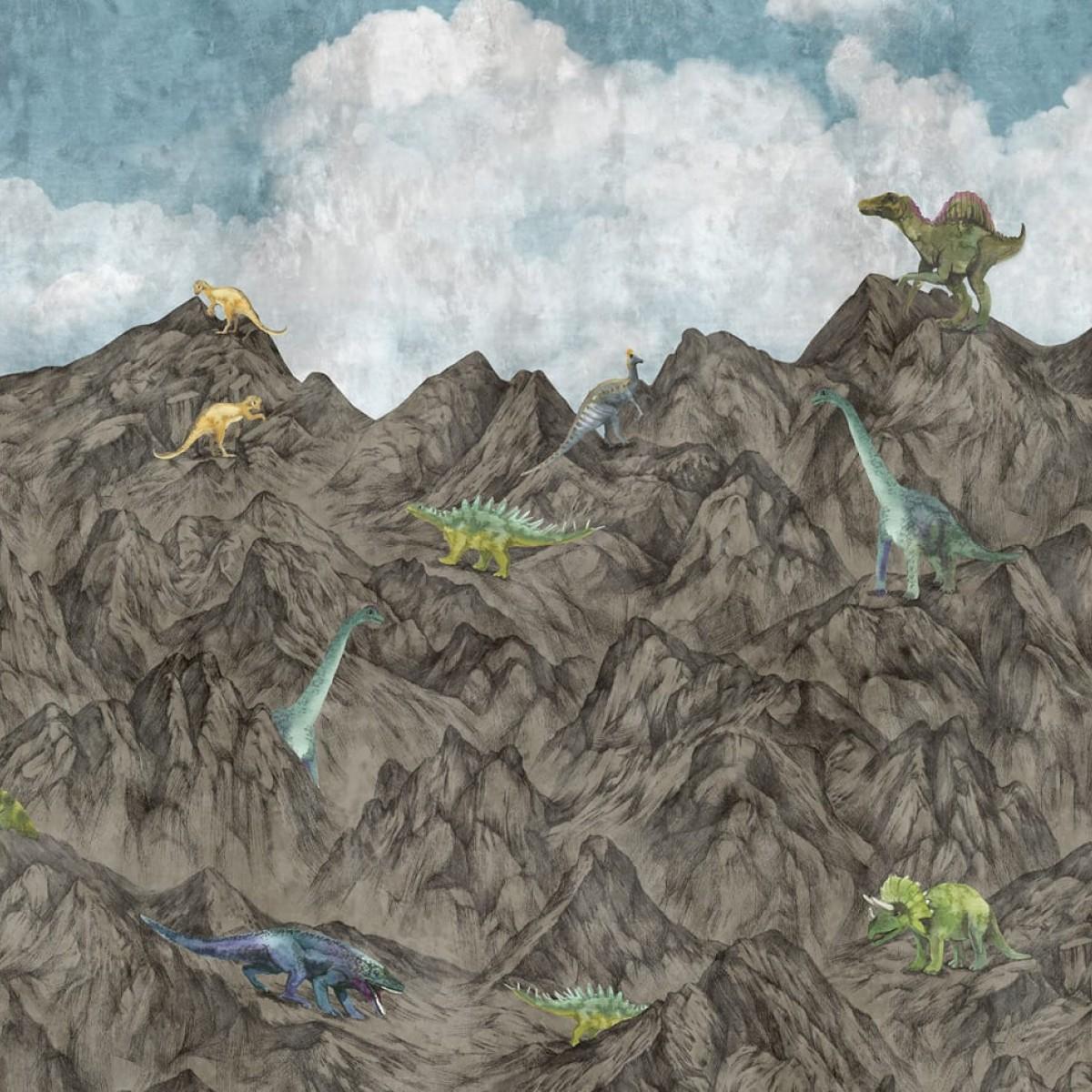 Foto tapet 3D Dinosaur Mountain, Day, Oxygen, personalizat, Rebel Walls