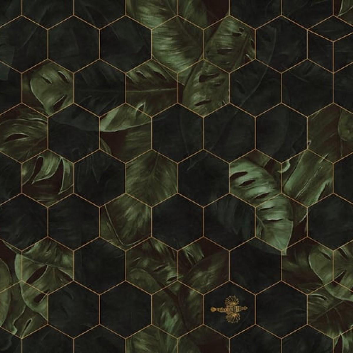 Foto tapet 3D  Hexagon Leaves, personalizat, Rebel Walls