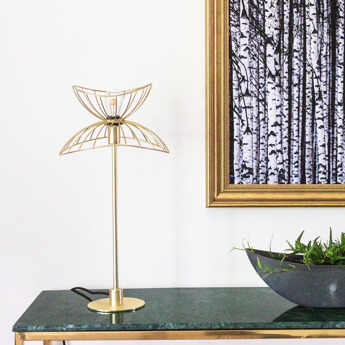Lampă birou/noptieră Ray, din metal negru/alamă, Globen