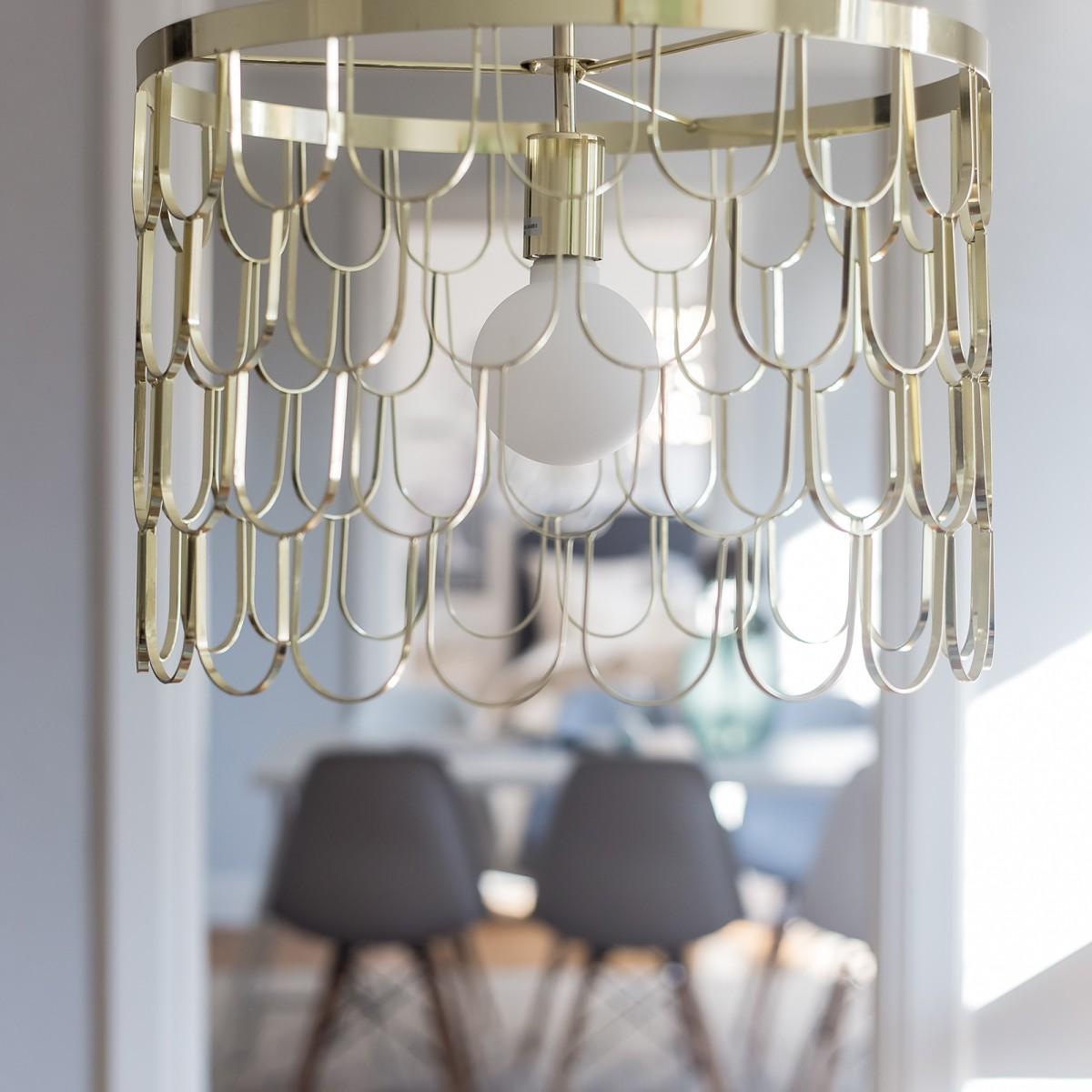 Lampă suspendată Gatsby 45cm, din metal negru/alamă, Globen