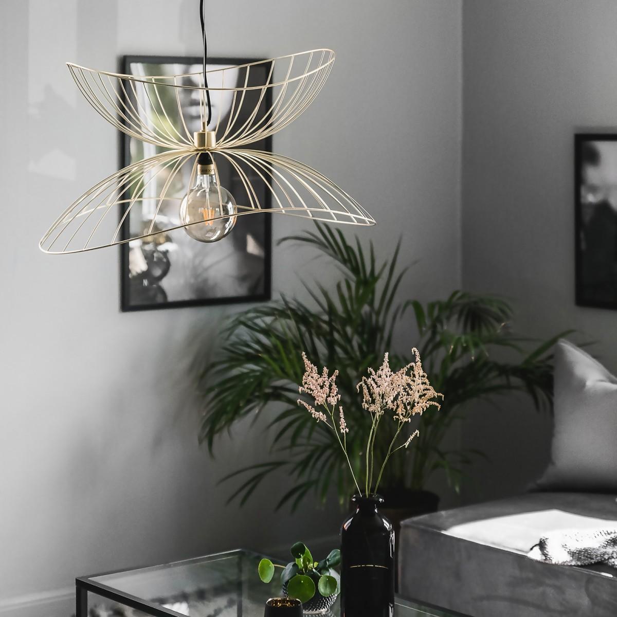 Lampă suspendată Ray, albă/neagră/curpu/alamă, diametru de 70 cm Globen