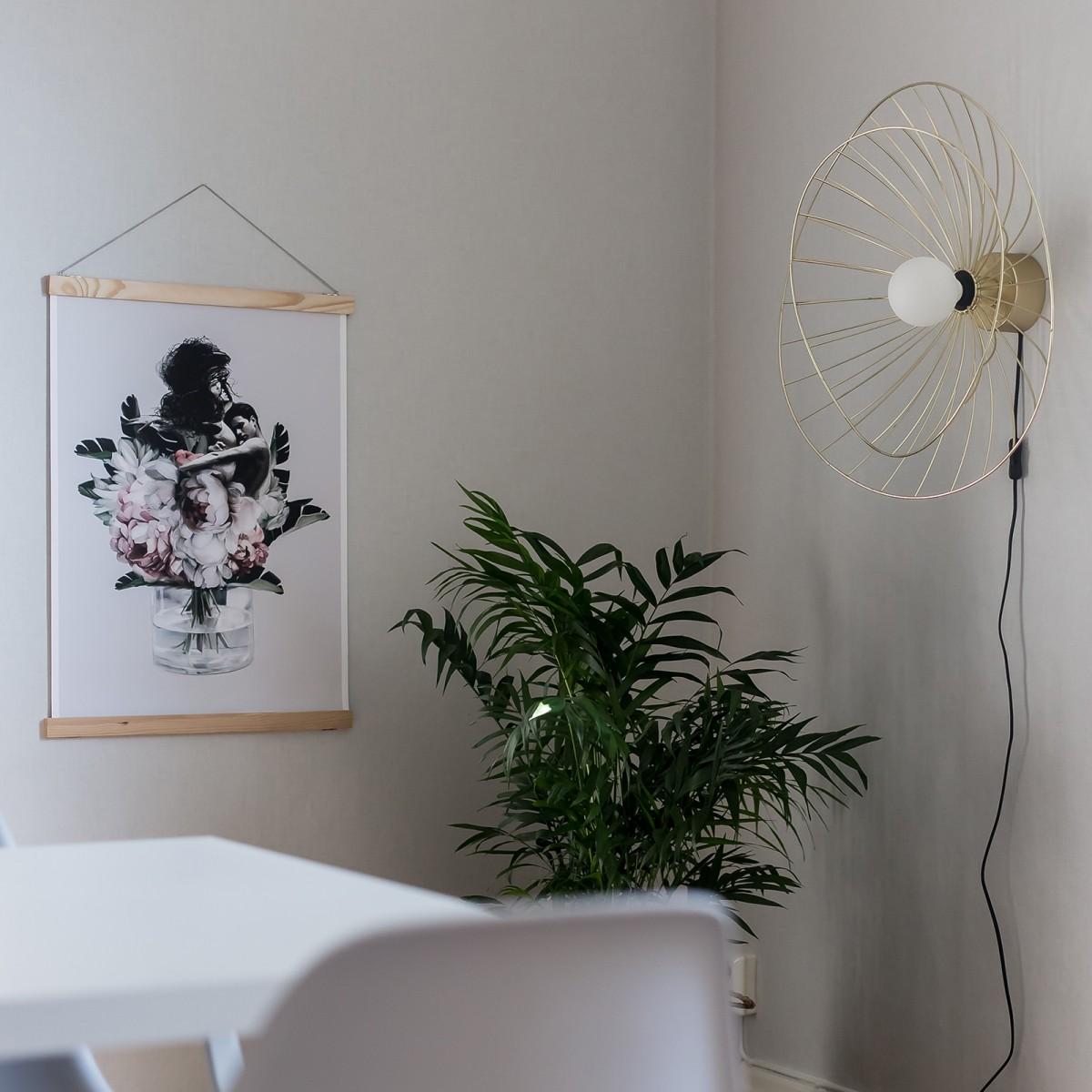 Plafonieră/aplică perete Ray, albă/neagră/alamă, diametru de 60 cm Globen