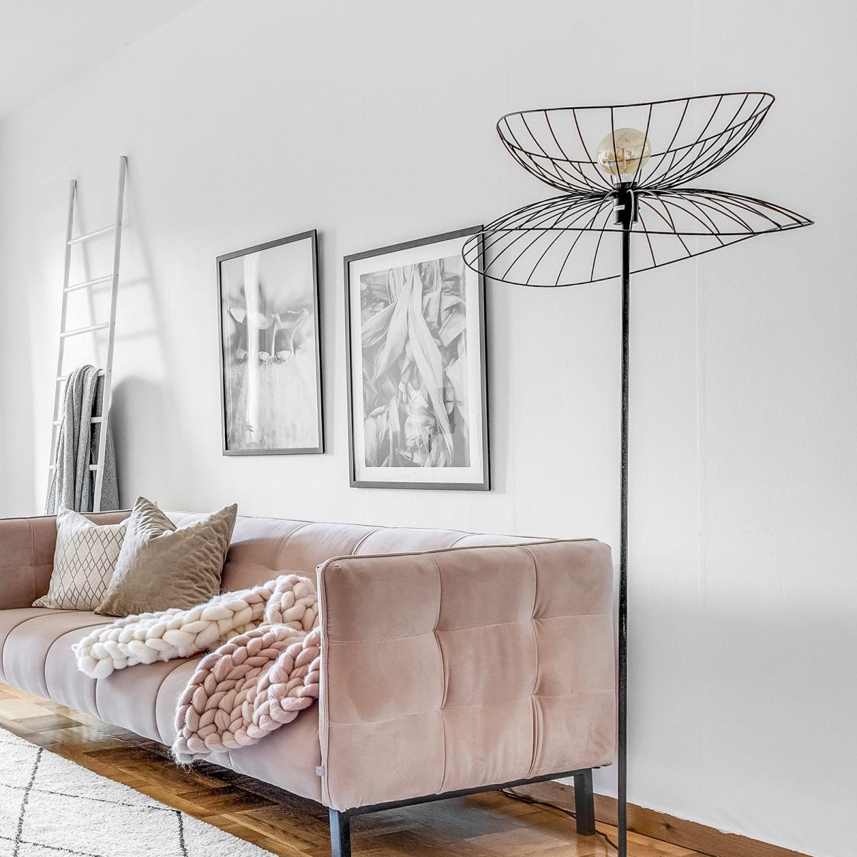 Lampadar Ray din metal negru/alamă, Globen