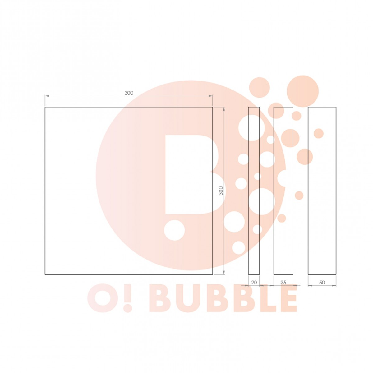 Panou decorativ din burete O!Bubble Rubi