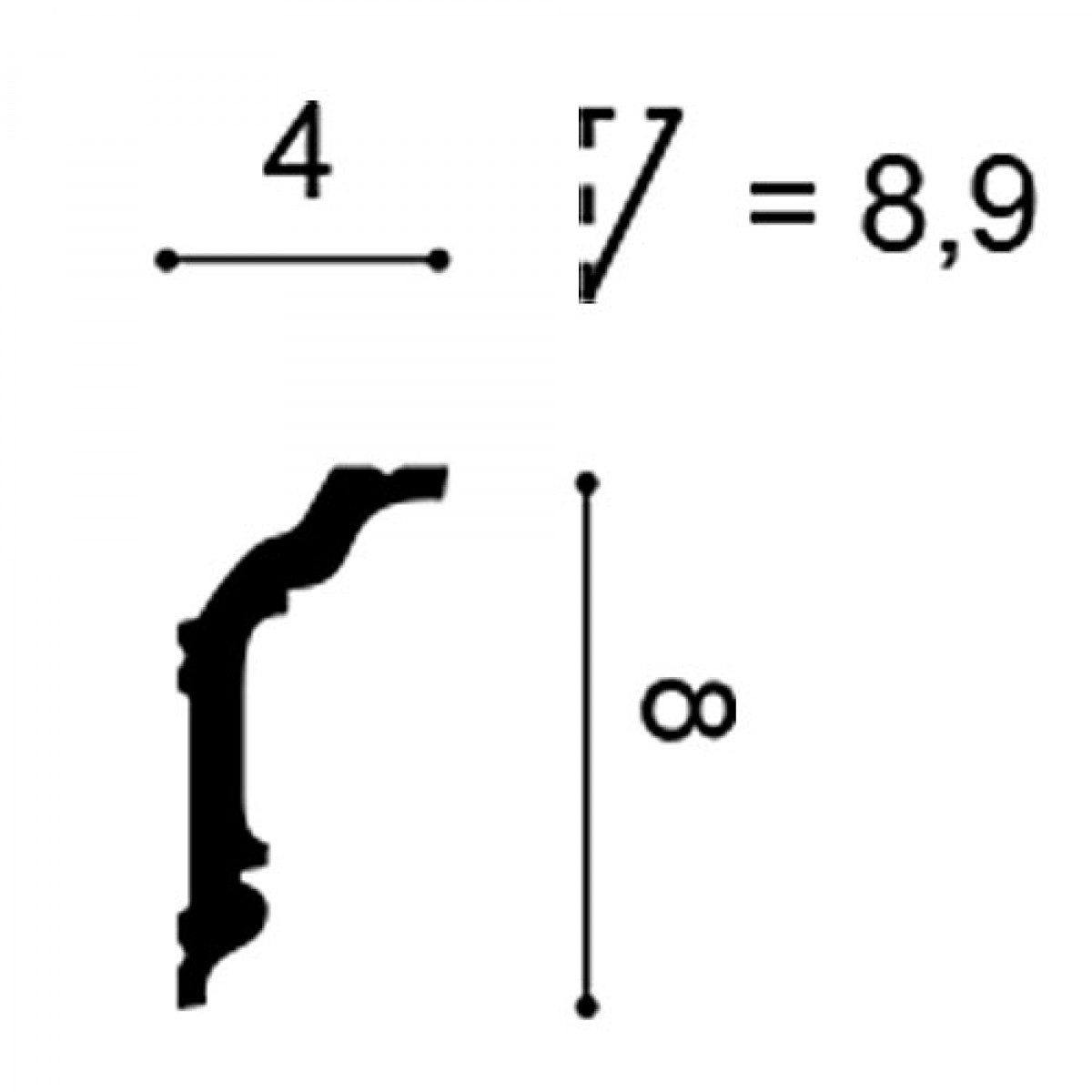 Cornisa AXXENT CX176, Dimensiuni: 200 X 4 X 8 cm, Orac Decor