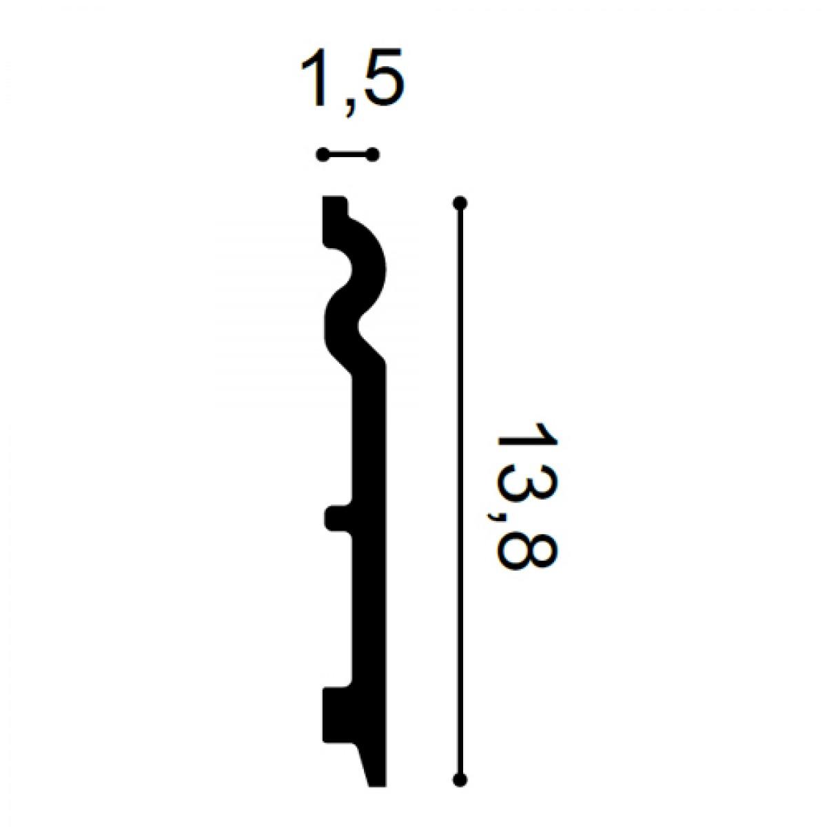 Plinta Flex Axxent SX138F, Dimensiuni: 200 X 1.5 X 13.8 cm, Orac Decor
