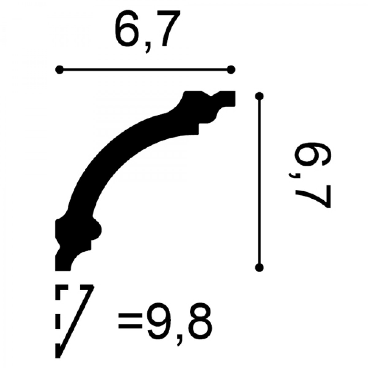 Cornisa Basixx CB511, Dimensiuni: 200 X 6.7 X 6.7 cm, Orac Decor