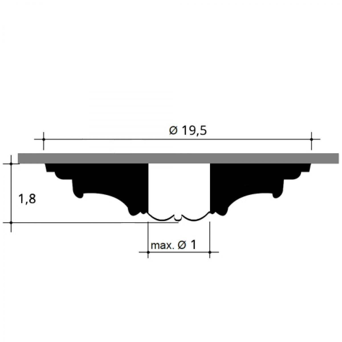 Rozeta Luxxus R12, Dimensiuni: diam. 19,5 cm (H: 1,8 cm), Orac Decor