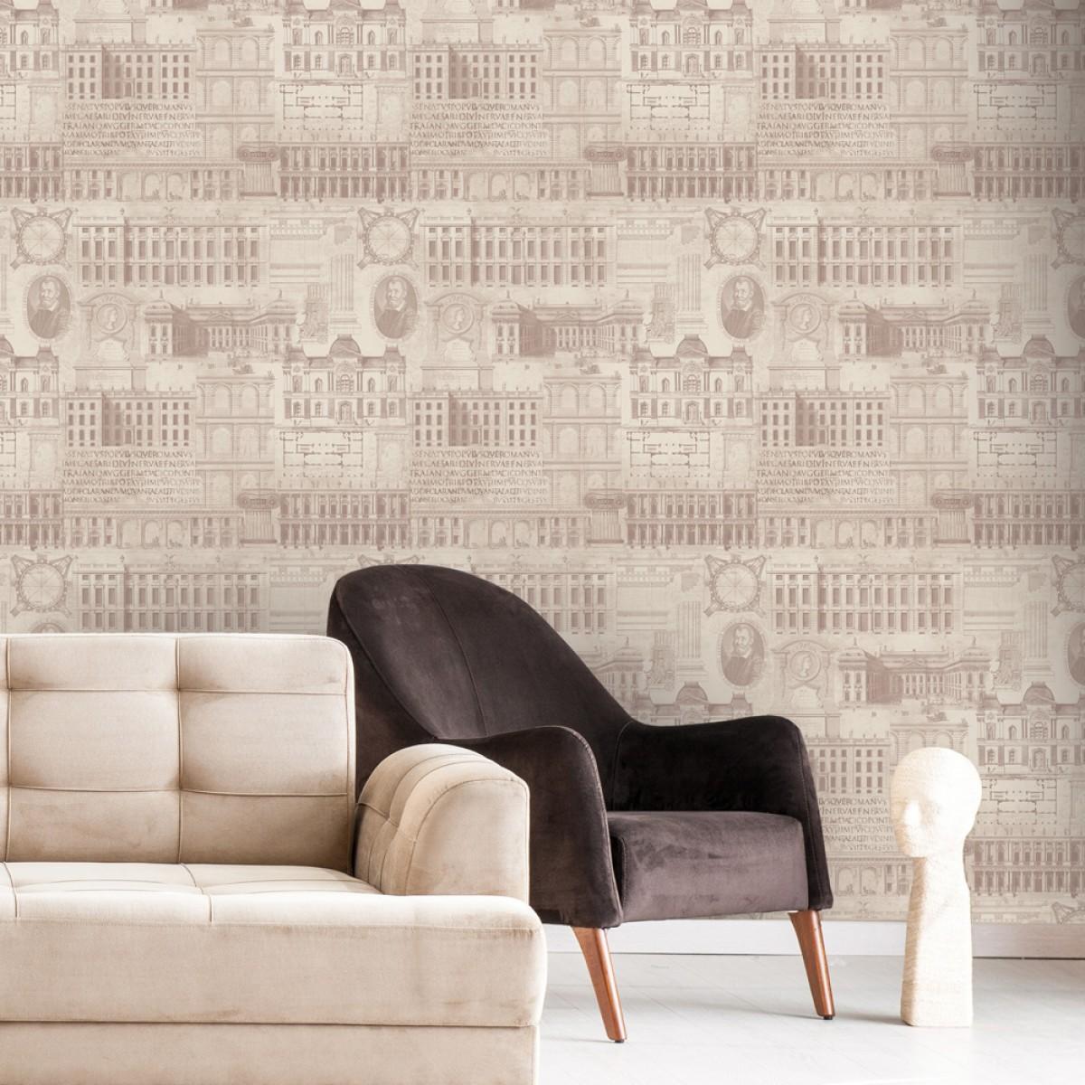 Tapet designer The Architect Vitruvius Taupe, MINDTHEGAP