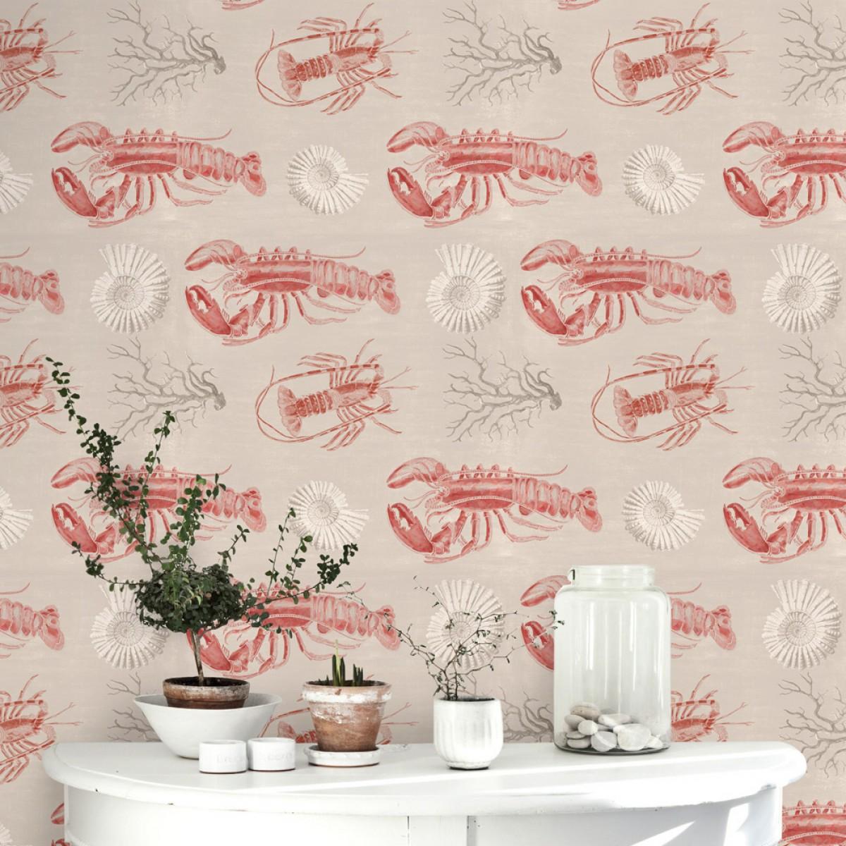Tapet designer Seaside Lobster Taupe, MINDTHEGAP