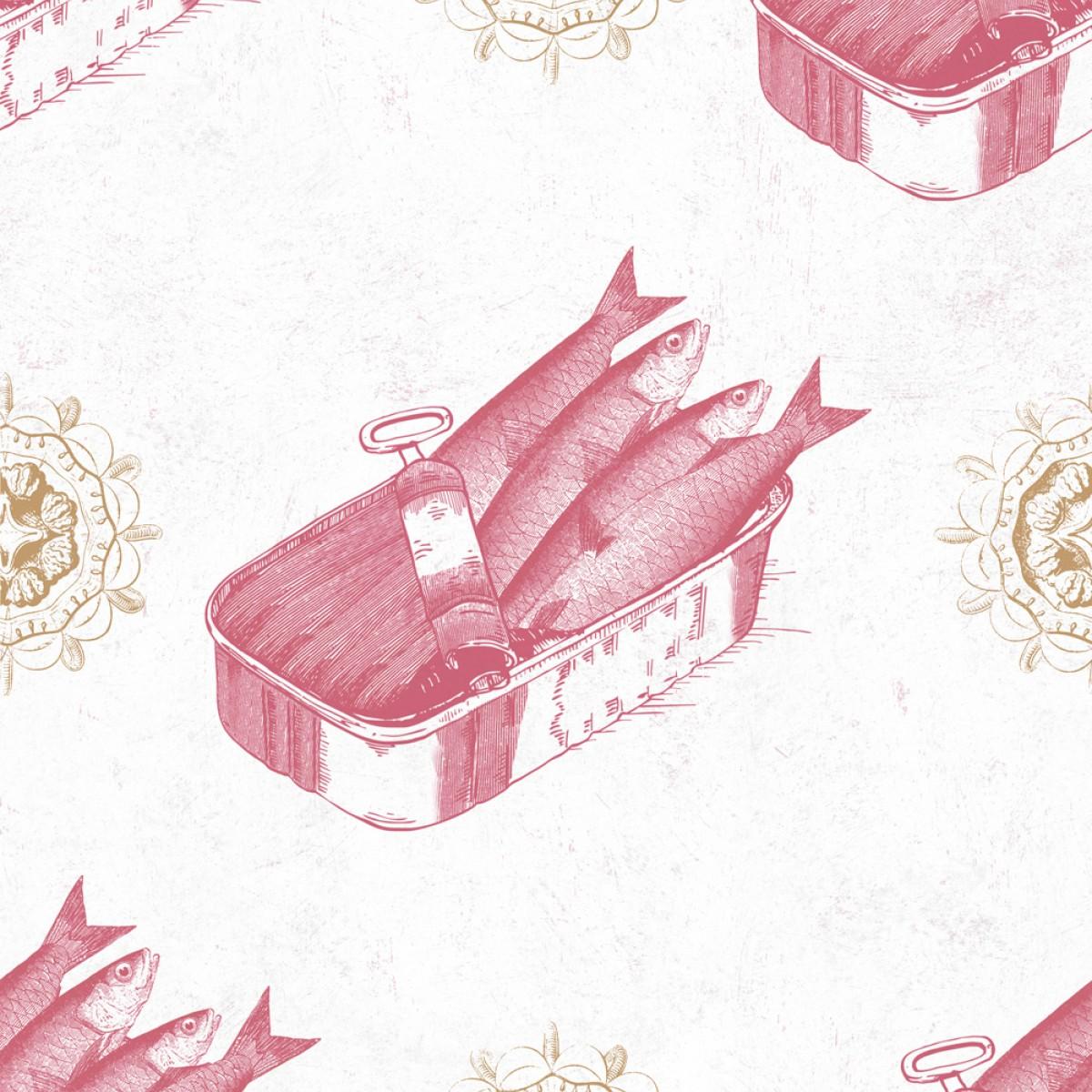 Tapet designer Seaside Sardines Red, MINDTHEGAP