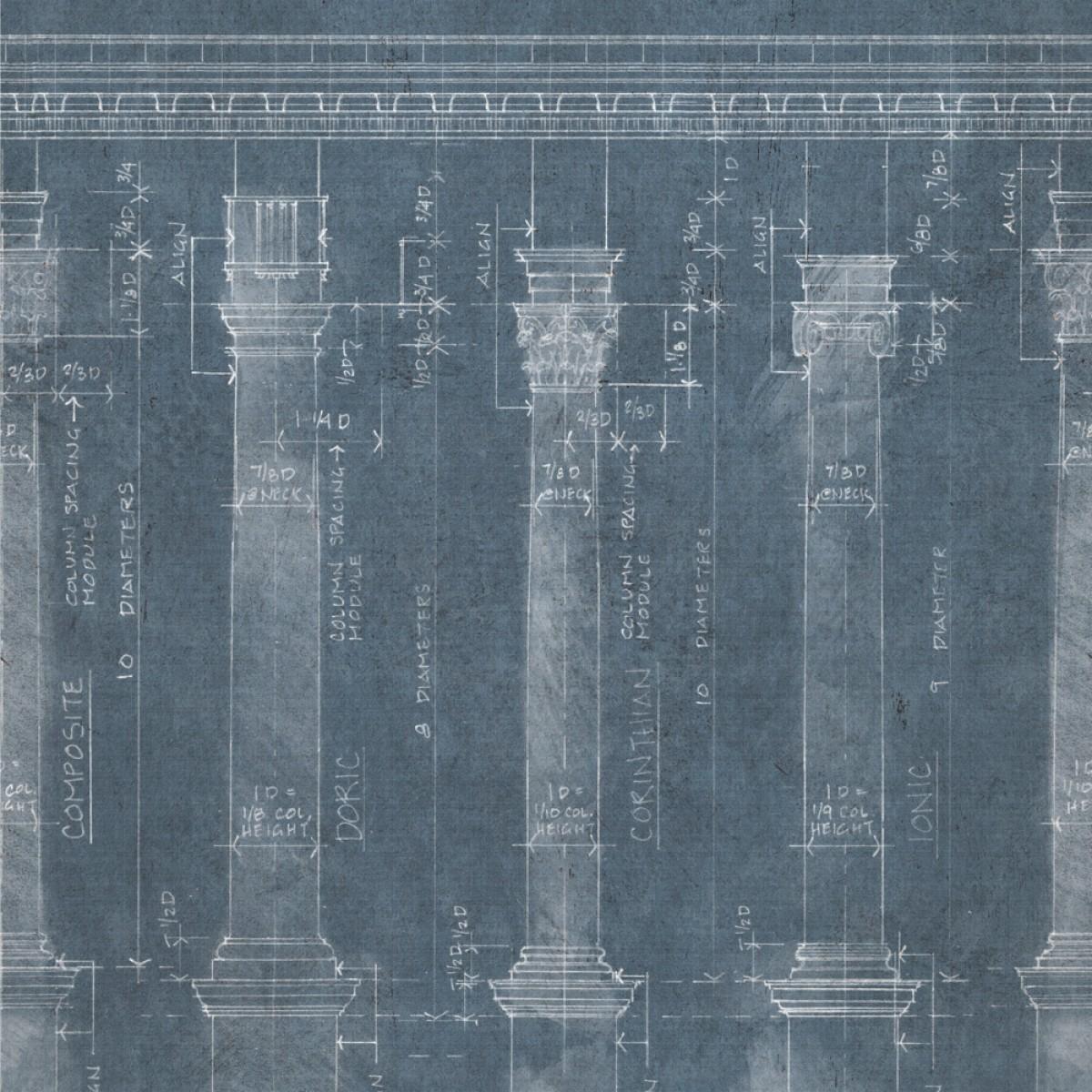 Tapet designer The Architect Colonnade Blue, MINDTHEGAP