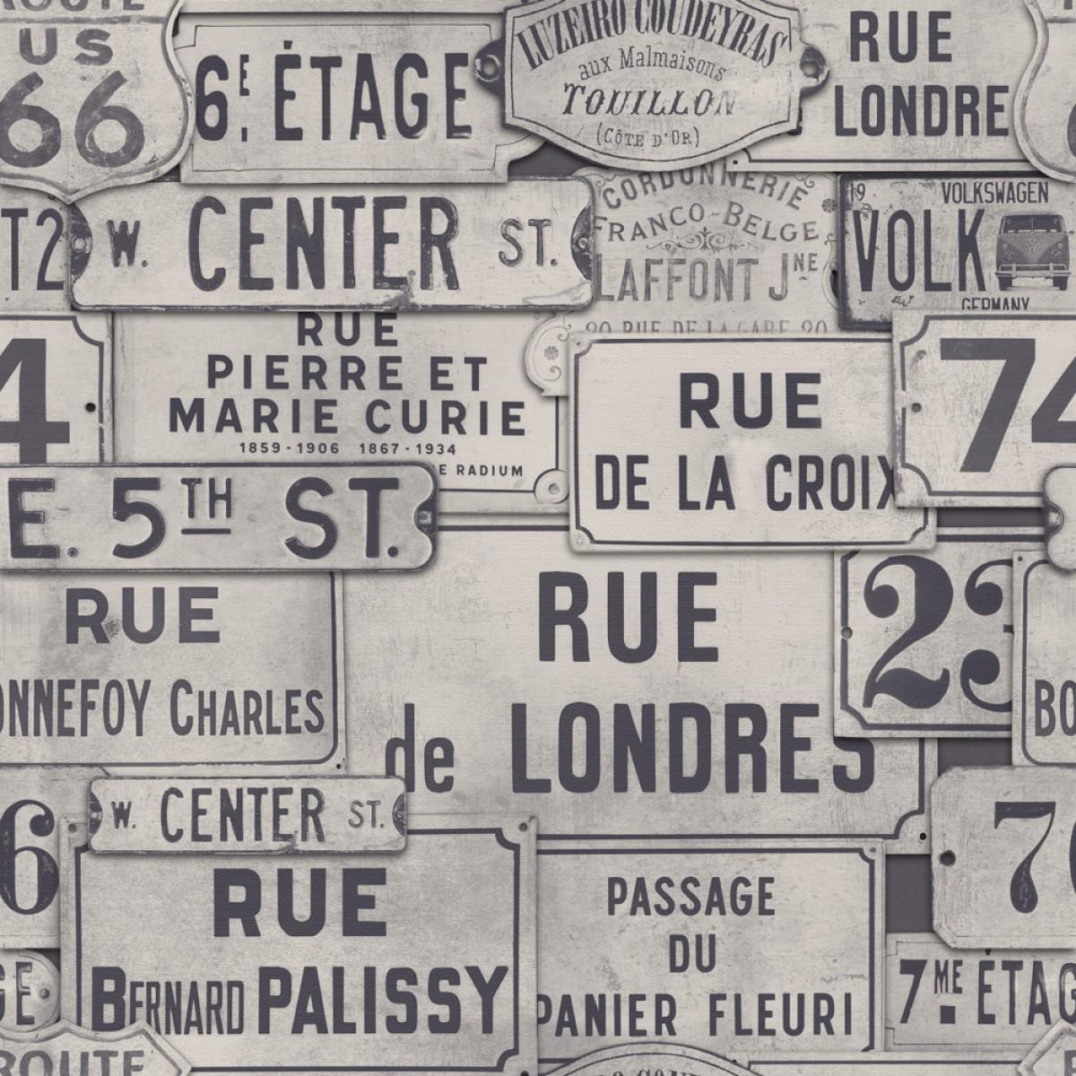 Tapet designer Traveller Street Signs Neutral, MINDTHEGAP