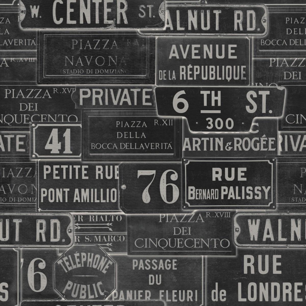 Tapet designer Traveller Vintage Signs Anthracite, MINDTHEGAP