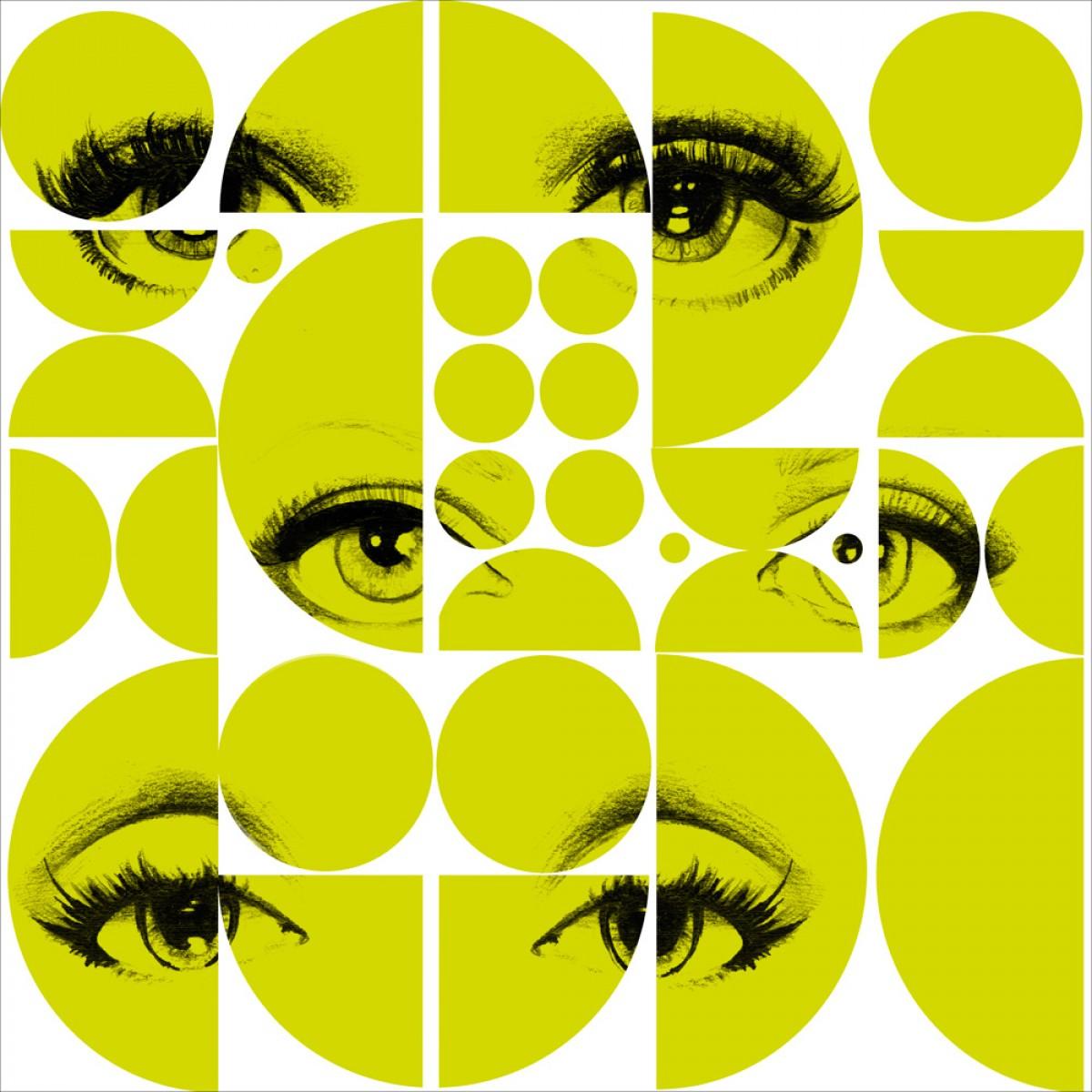 Tapet designer Illusions Eyes and circles lime, MINDTHEGAP