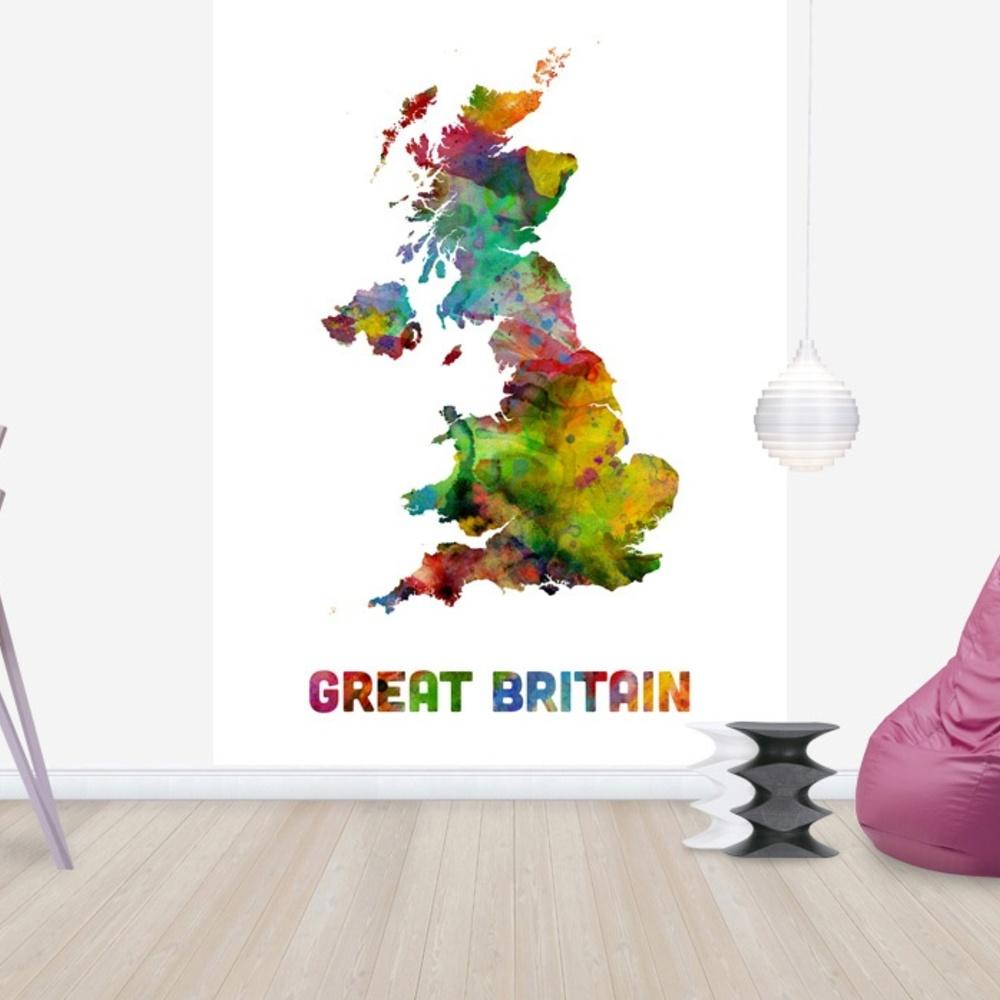 Fototapet Great Britain Watercolor Map  Personalizat  Photowall