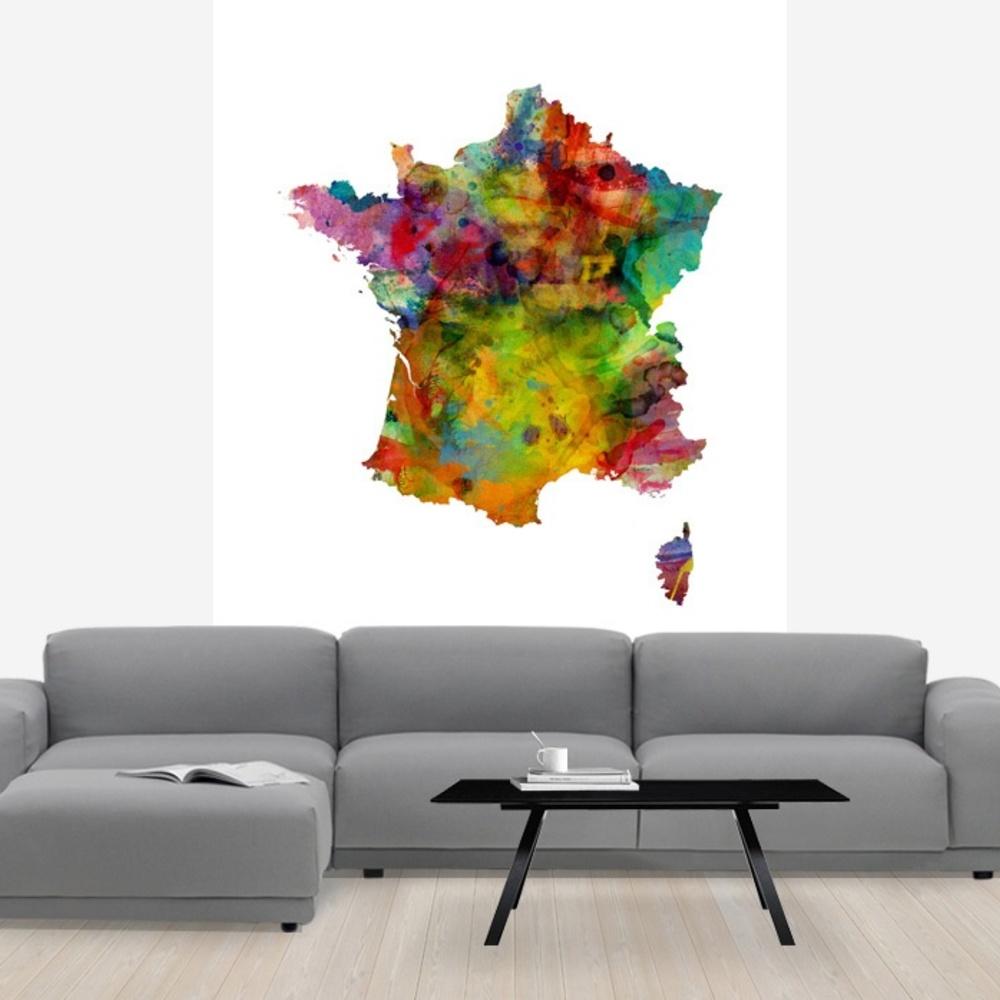 Fototapet France Watercolor Map  Personalizat  Photowall