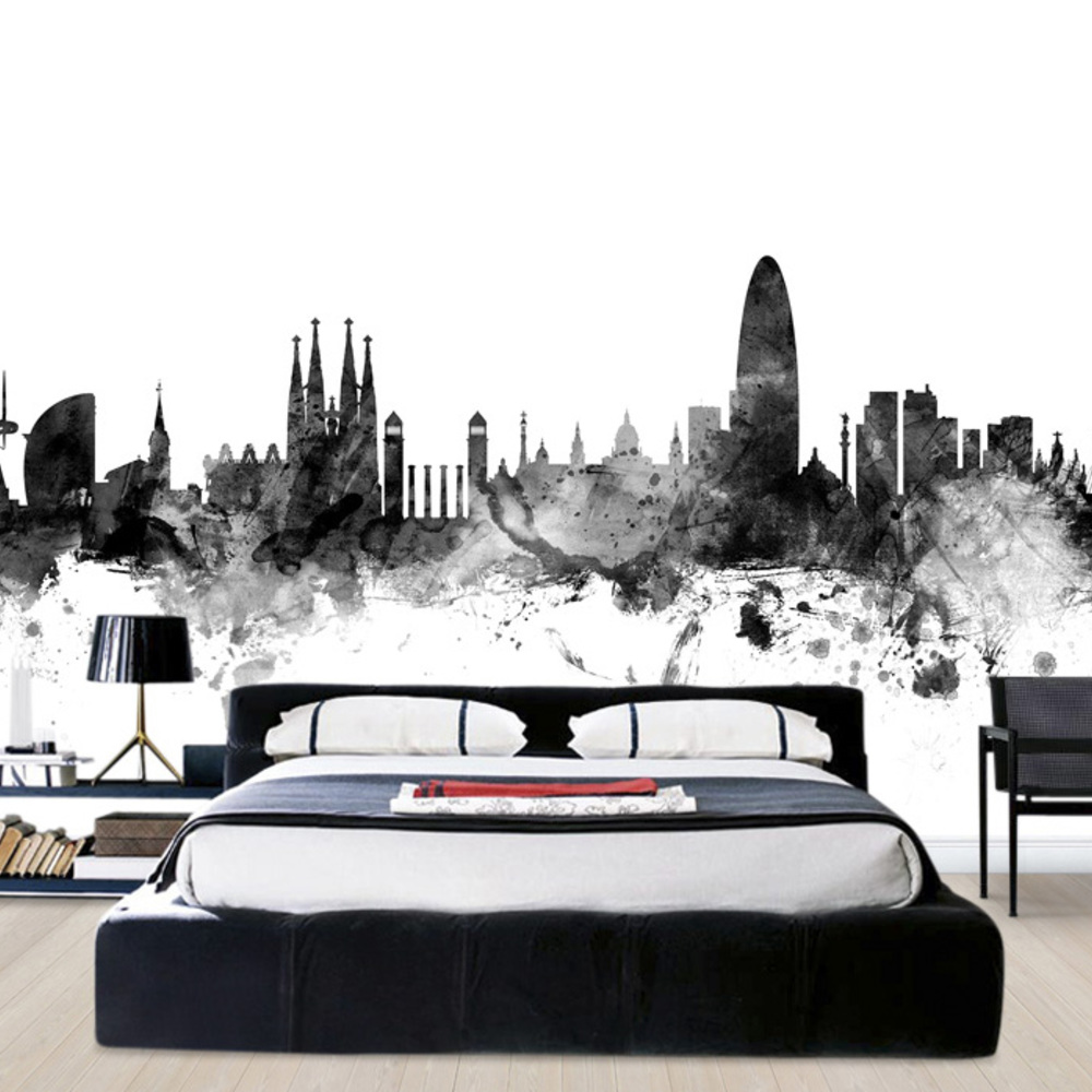 Fototapet Barcelona Skyline Black  Personalizat  P