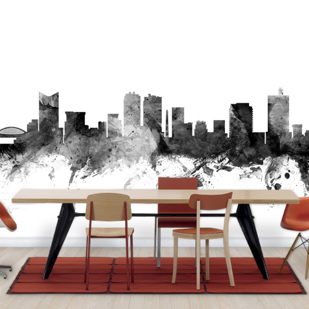 Fototapet Fort Worth Texas Skyline Black  Personalizat  Photowall