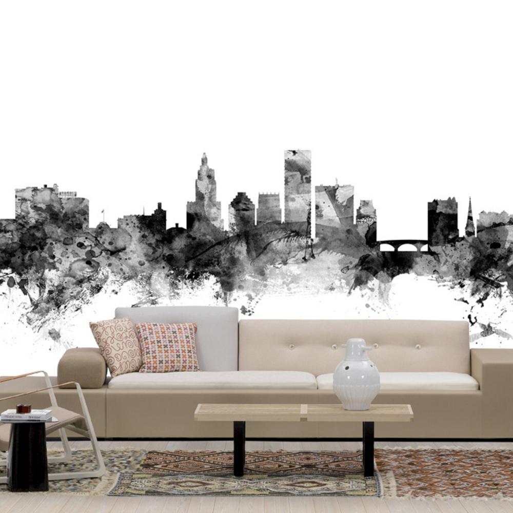 Fototapet Providence Rhode Island Skyline Black  Personalizat  Photowall