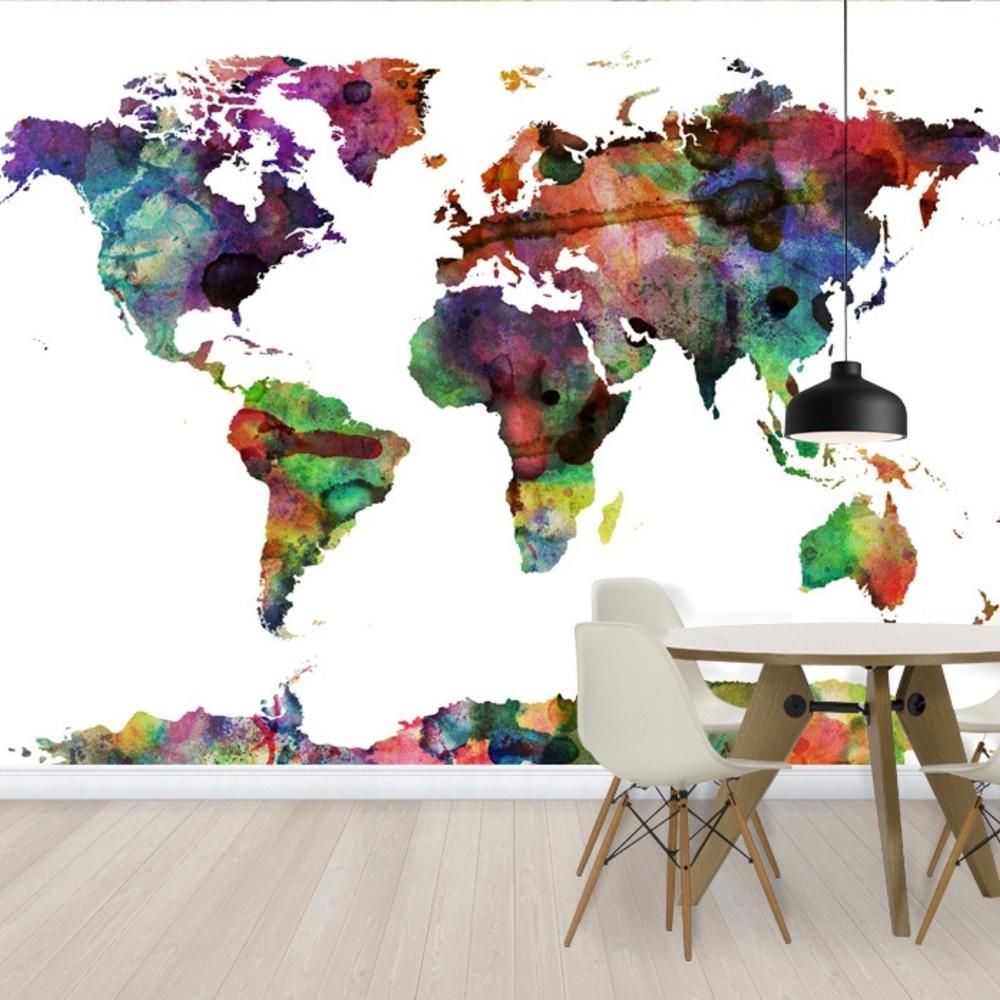 Fototapet Watercolor World Map Multicolor  Personalizat  Photowall