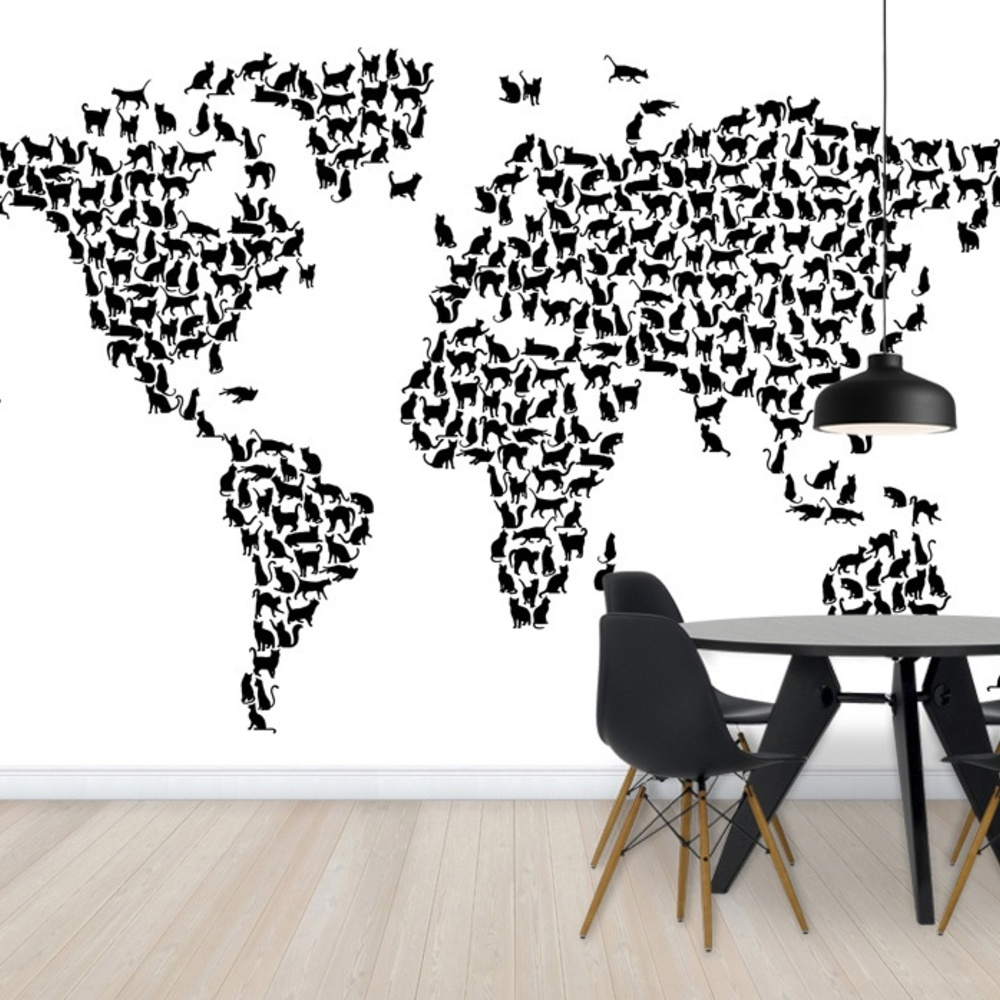 Fototapet Cats World Map Black  Personalizat  Phot
