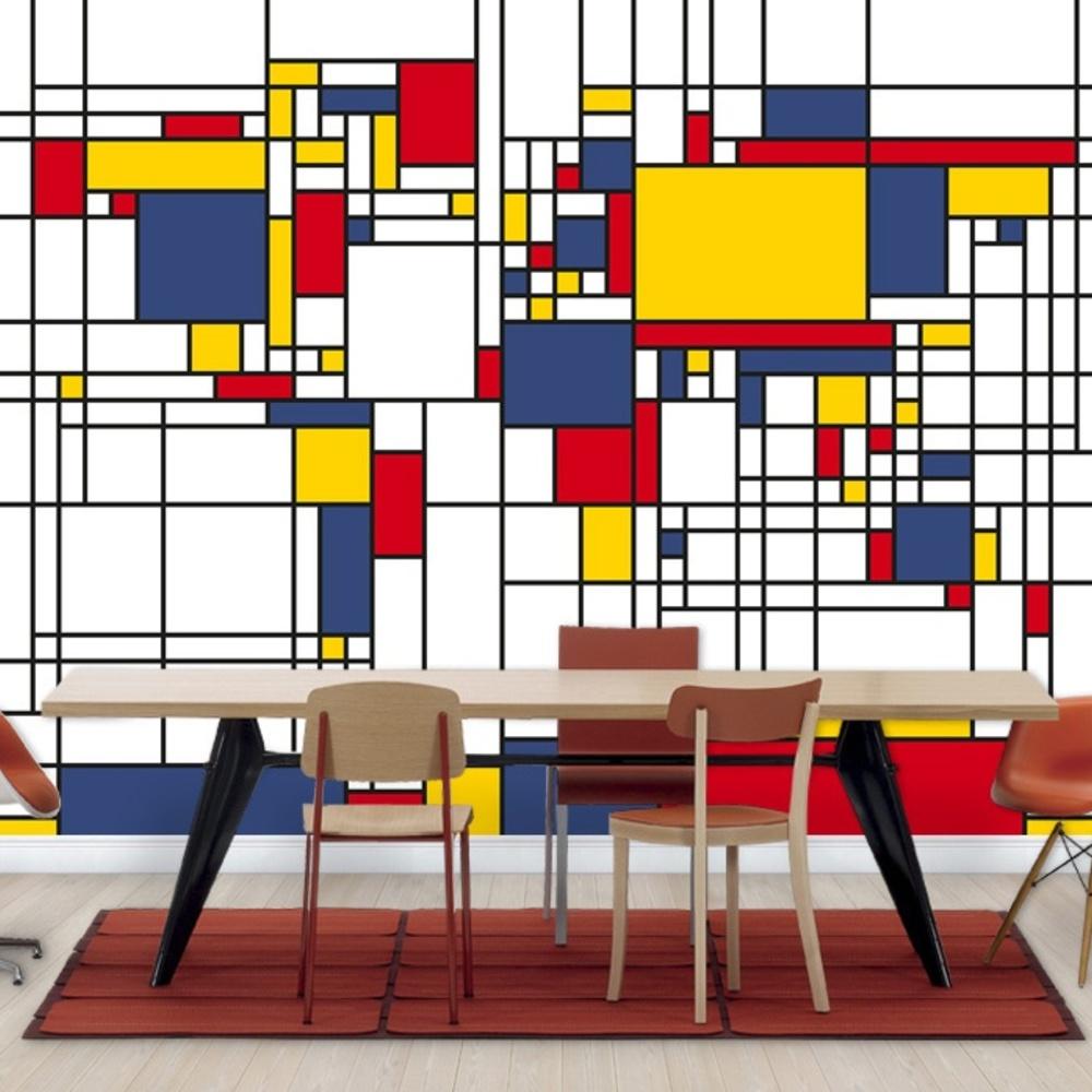 Fototapet Piet Mondrian Style World Map  Personali