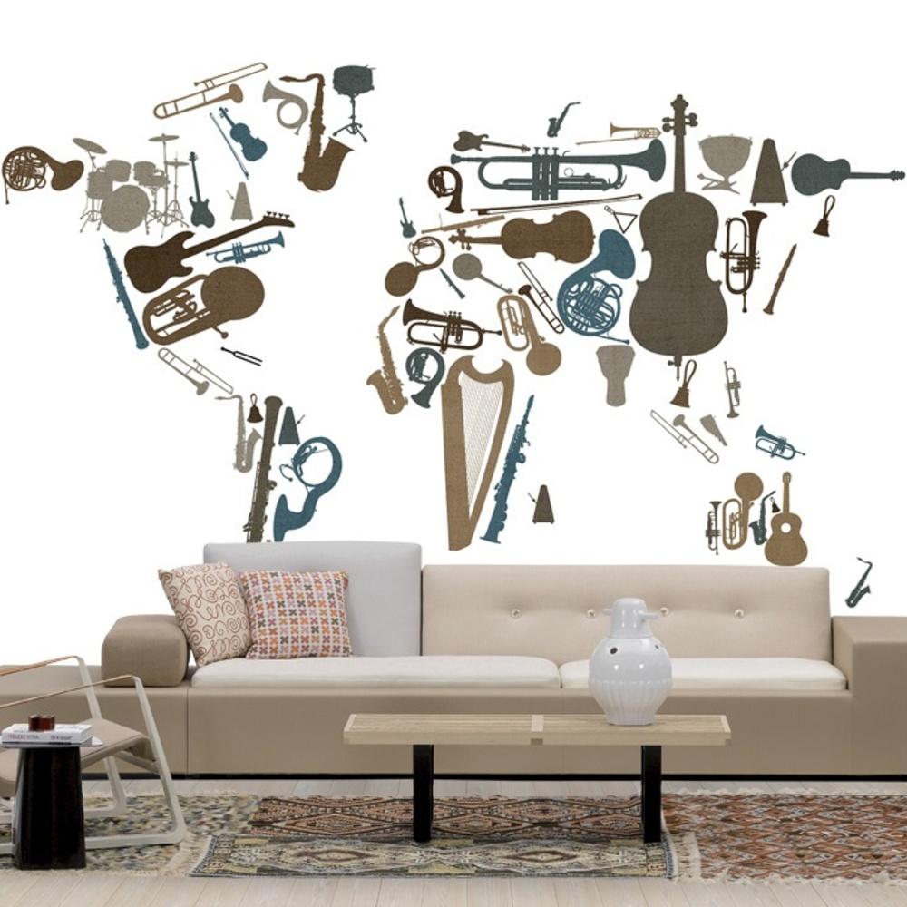 Fototapet Music Instruments World Map  Personaliza