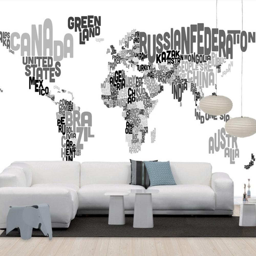 Fototapet Typographic Text World Map Black  &  Grey  Personalizat  Photowall