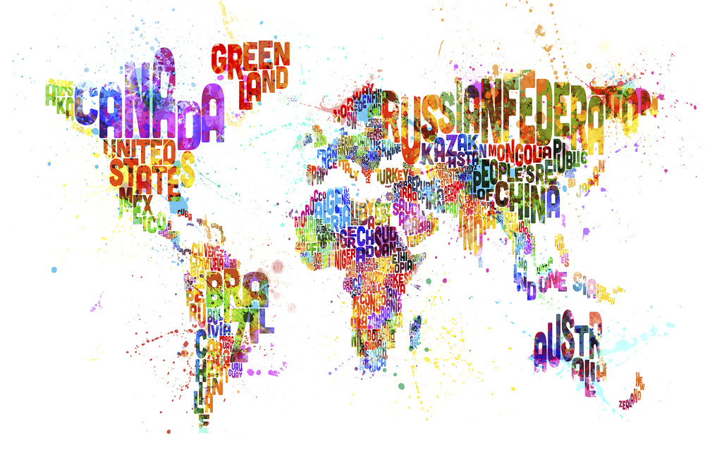 Fototapet Typographic Text World Map Paint Splash  Personalizat  Photowall