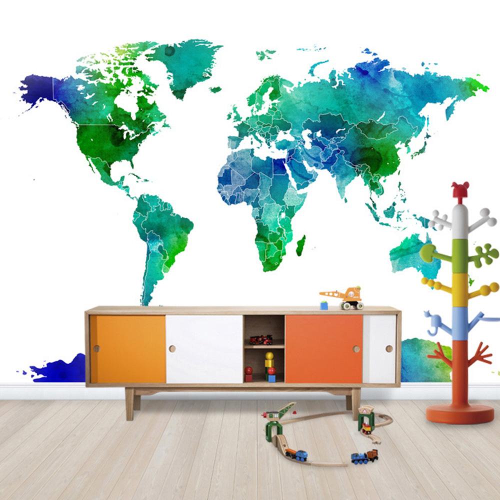 Fototapet Watercolor World Map Blue  &  Green  Personalizat  Photowall