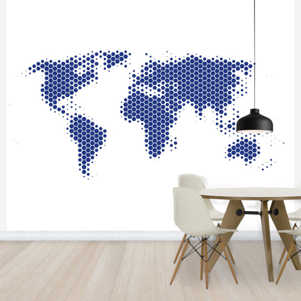 Fototapet World Map Metal Sheet - Blue  Personaliz